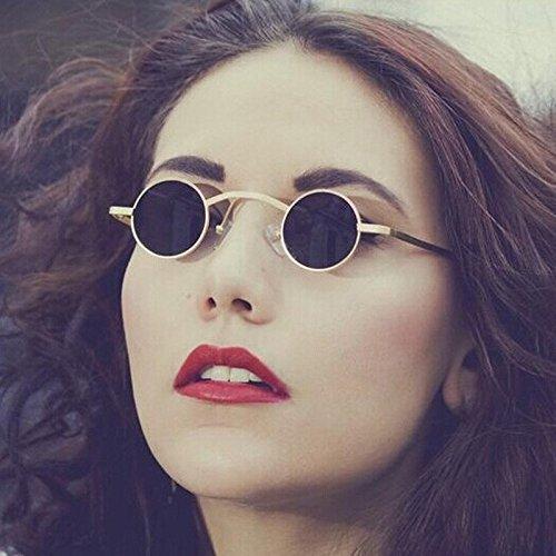 Izusa (TM) New Steampunk Sonnenbrille Herren Damen Vintage rund Metall Sonnenbrille Unisex Designer Retro kleine Sonne Brille Oculos de Sol, Goldfarben / Schwarz