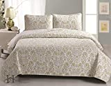 Martinique Collection 3-Piece Luxury Quilt Set with Shams. Soft All-Season Microfiber Bedspread and Coverlet with Beautiful Printed Pattern. By Home Fashion Designs Brand. (F/Q, Green / Gray)