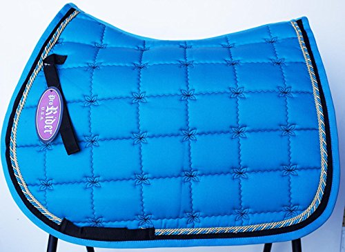 St. Charles Horse Quilted ENGLISH SADDLE PAD Tack Trail Riding Contoured Turquoise 72F14