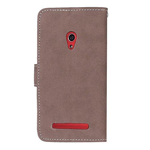 YHUISEN Retro estilo sólido color Premium PU cuero cartera de la caja Flip Folio cubierta protectora de la caja con ranura para tarjeta / soporte para Asus Zenfone 5 A501CG ( Color : Green ) Brown