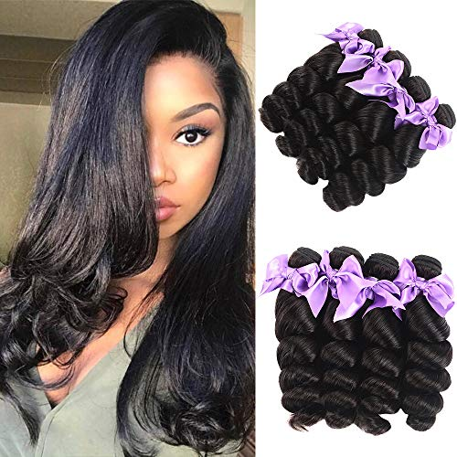 Brazilian 8A Human Hair Loose Wave Bundles Virgin Hair Loose Wave Bundles Natural Black 100% Unprocessed Curly Wavy Human Hair Weave 4 Bundles Remy Human Hair Extensions(20 22 24 26) (Going From Brown To Red Hair At Home)