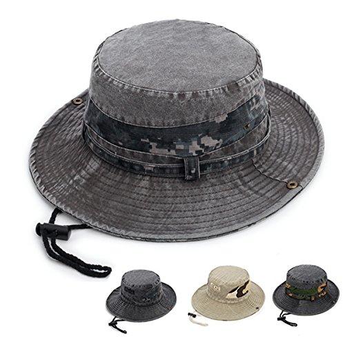 Fonshow Jungle Camo Boonie Sun Hat Snap Wide Brim Caps Outdoor Fishing  Hunting Safari Cap a428c859c3f8