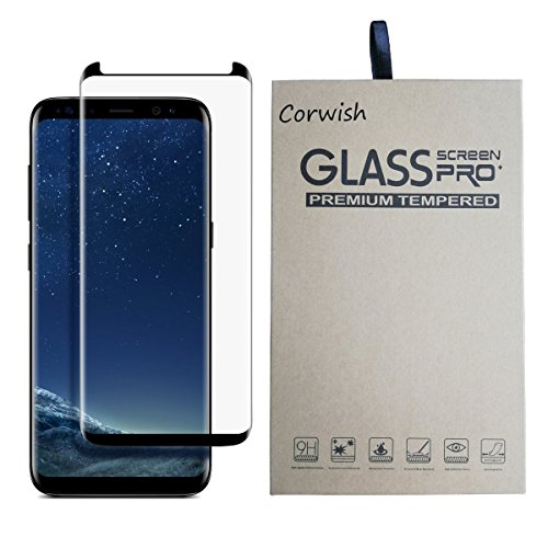 Galaxy S8 Tempered Glass Screen Protector , 3D Curved Edge To Edge Case Friendly Full Coverage HD Clear Anti Scratch Protective Cover Film for Samsung S 8 Smart Phone ( for S8, not for S8+ ) (Black-A) (Protective Cover)