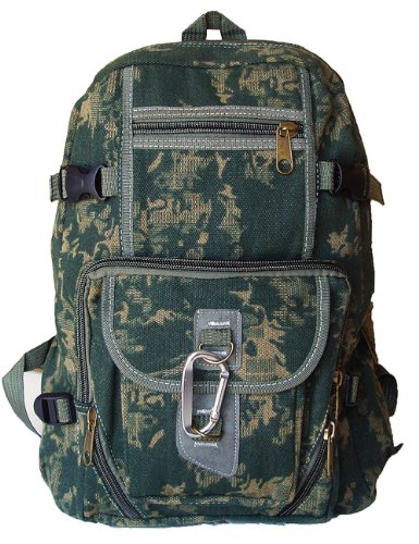 UPC 654367771778, Military Inspired Canvas Backpack Bookbag Olive Camouflage