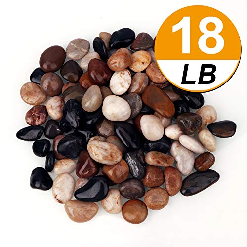 [18 Pounds] Pebbles Aquarium Gravel River Rock, Natural Polished Decorative Gravel,Garden Outdoor Ornamental River Pebbles Rocks, Mixed Color Stones,Polished Gravel for Landscaping Vase Fillers (18) by BLQH