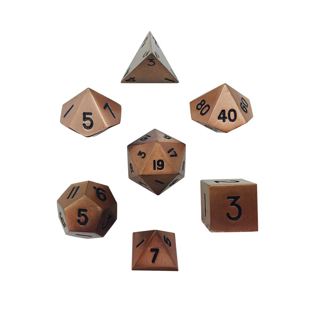 Set Of 7 Gnomish Copper Full Metal Polyhedral Dice By Norse Foundry