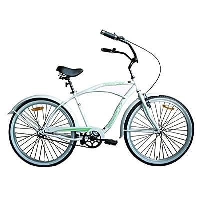 "Woodworm 26"" Mens Beach Cruiser Bike White/Green"