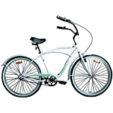 "Woodworm 26"" Mens Beach Cruiser Bike White/Green"