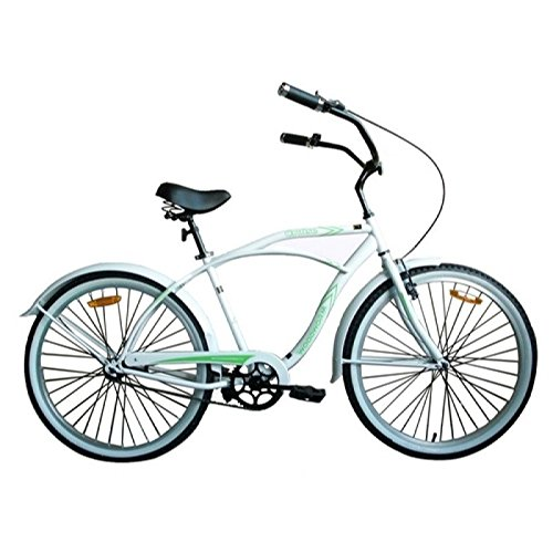 "Style Beach Cruiser Bike Bicycle (Woodworm 26"" Mens Beach Cruiser Bike White/Green)"