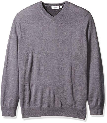 Calvin Klein Men's Big and Tall Merino Solid V-Neck Sweater, Albenga, X-LARGE T (Mens Dressy V Neck 3xl Sweater)