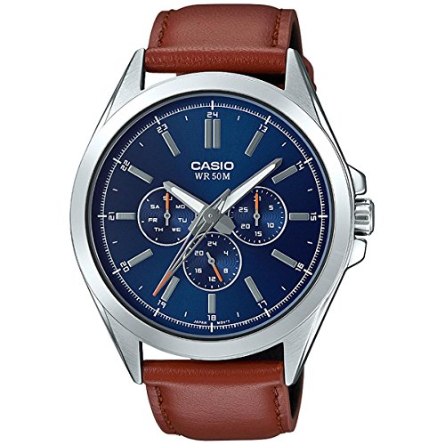 Casio Men's Classic Stainless Steel Quartz Watch with Leather Strap, Brown, 22 (Model: MTP-SW300L-2AVCF) (Brown Watch Leather Casio)