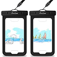 Waterproof Case with Touch ID, ProCase Cellphone Dry Bag Pouch for Apple iPhone 7, 7 Plus, 6S, 6,6S Plus, SE, 5S, Samsung Galaxy S7, S7 Edge S6 Note 5 4, Fingerprint Recognition (2-pack) -Black