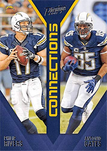 Philip Rivers & Antonio Gates football card (San Diego Chargers) 2017 Panini Prestige Connections #17
