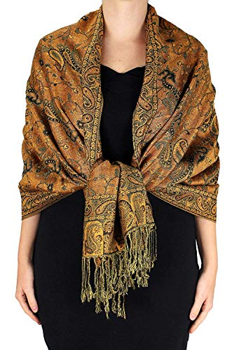Peach Couture Elegant Double Layer Reversible Paisley Pashmina Shawl Wrap Scarf (Fores Green and Orange) (Double Layer Scarf)