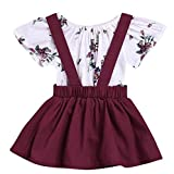 LOliSWan 2Pcs Infant Toddler Baby Girls Summer Boho Floral Rompers Jumpsuit Strap Skirt Overall Dress Outfits Set (White, 18-24 Months)