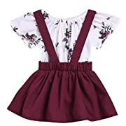 LOliSWan 2Pcs Infant Toddler Baby Girls Summer Boho Floral Rompers Jumpsuit Strap Skirt Overall Dress Outfits Set (White, 6-12 Months)