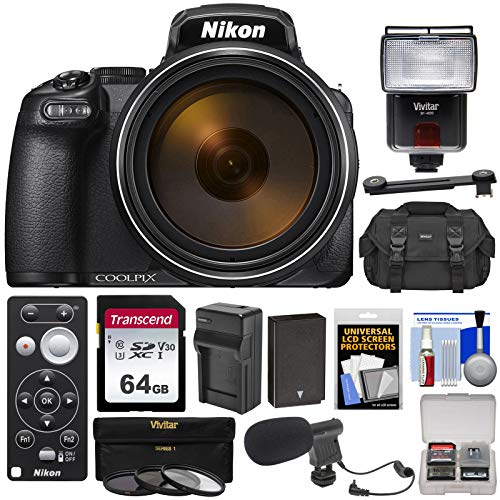 Nikon Coolpix P1000 4K 125x Super Zoom Digital Camera with ML-L7 Remote + 64GB Card + Battery & Charger + Case + Flash + Mic + 3 Filters Kit