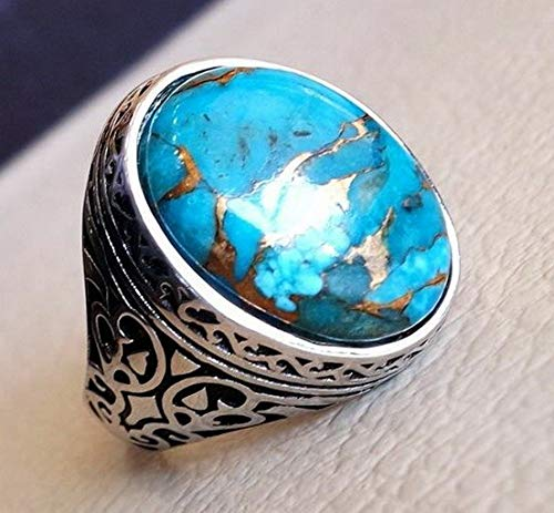 Waldenn 925 Silver Ring Turquoise Woman Men Charm Wedding Gift Engagement Size 6-10 | Model RNG - 14083 | 11 (Equestrian Tri Strap)