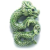 Shipwreck Beads 36 by 12mm Peruvian Hand Crafted Ceramic Chinese Dragon Beads, Green, 3-Per-Pack
