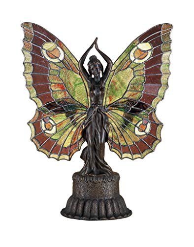 Screen Fireplace Stained Butterfly Glass - Meyda Tiffany 48018 Butterfly Lady Accent Lamp, 17
