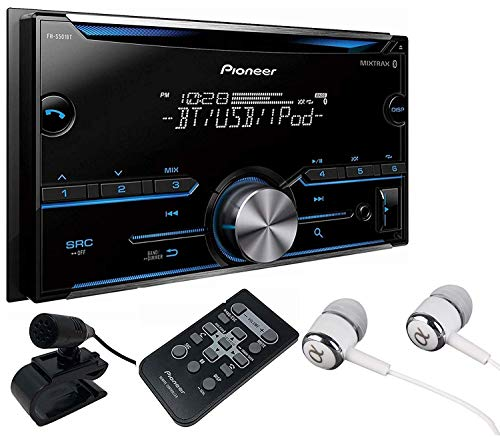 Pioneer Double DIN CD USB Aux Car Stereo Receiver Built-in Bluetooth, MIXTRAX, Android Music Support iPhone Compatibility, Pandora Spotify, Pioneer ARC App Compatibility with ALPHASONIK Earbuds