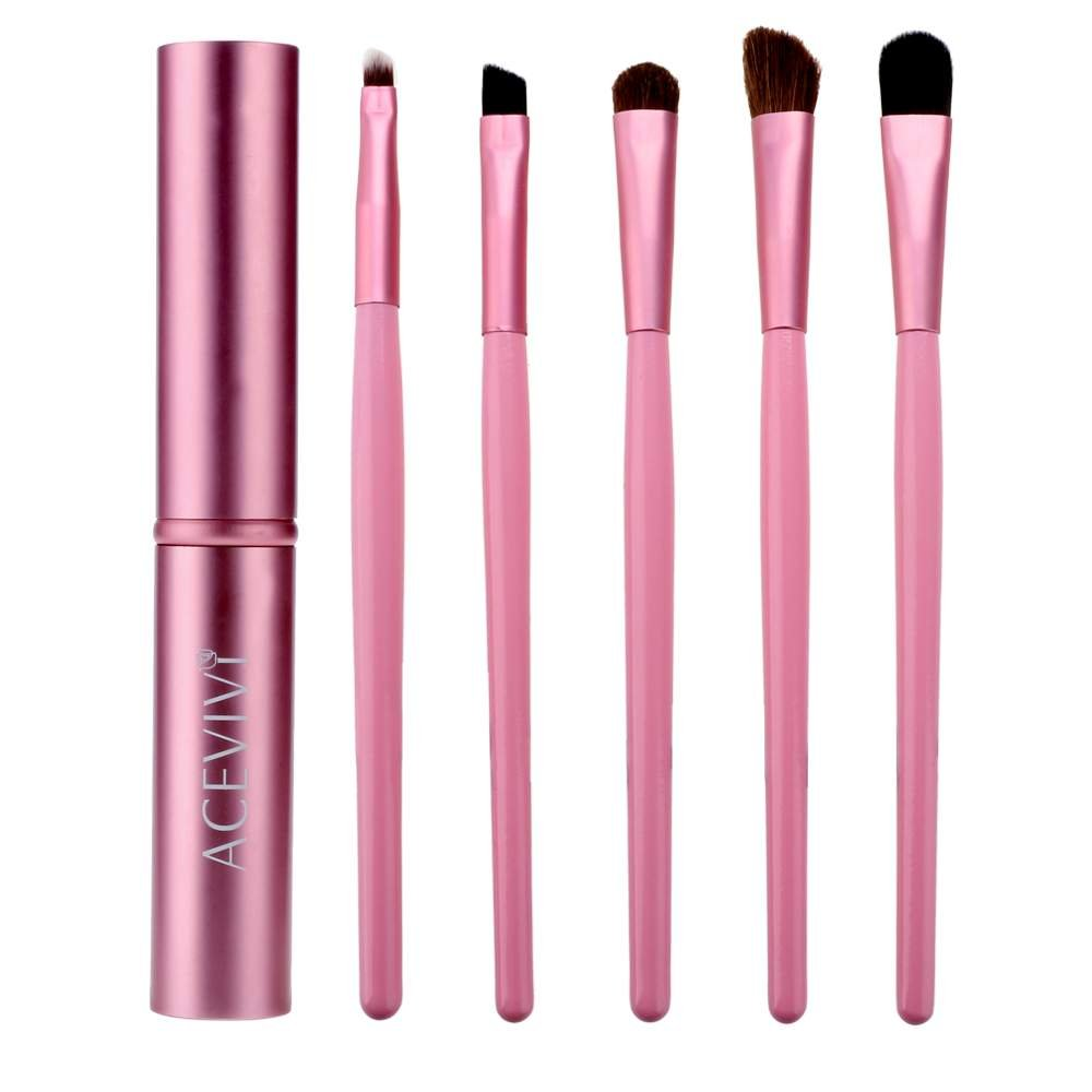 ACEVIVI 5 pcs Synthetic Hair Eye Makeup Tools Professional Eyeshadow Brush Makeup Kit with Rose Tube Case