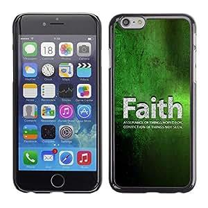 //MECELL CITY PRESENT//SmartPhone Carcasa rígida Carcasa de plástico PC Carcasa fresco imagen para iPhone 6///Faith Conviction Hope Green Quote Life///