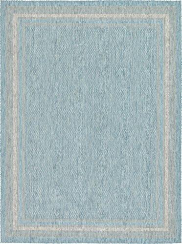 Outdoor Collection Area Rug - Aquamarine 9' x 12'-Feet, Perfect for Indoor & Outdoor Rugs - Garden and Pool Area, Camping, Picnic Carpet ()