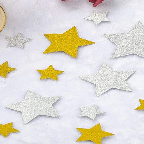 ZOOYOO Stars Gold and Silver Confetti,Glitter Paper Confetti,Confetti Table Decor 4/3/2/1.5 inch in Diameter 200pc