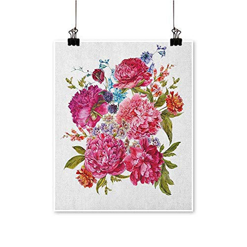 HouseDecor Shabby Chic,Canvas Painting Gentle Summer Flora Hyacinths BlackBerry and Peonies