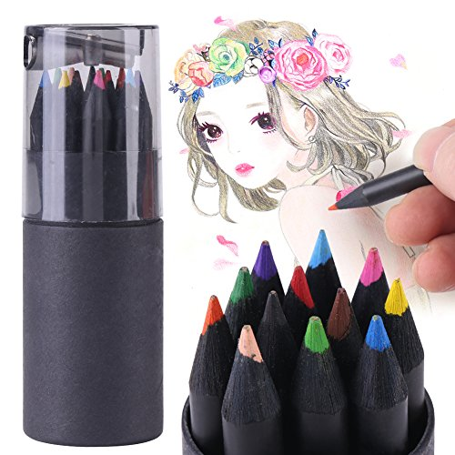 (12 Color Drawing Sketching Painting Colorful Pencils Professional Black-Wood Colored Artist Pencil for Drawing Sketching Writting Office Home Working Use, 3.5 inch)