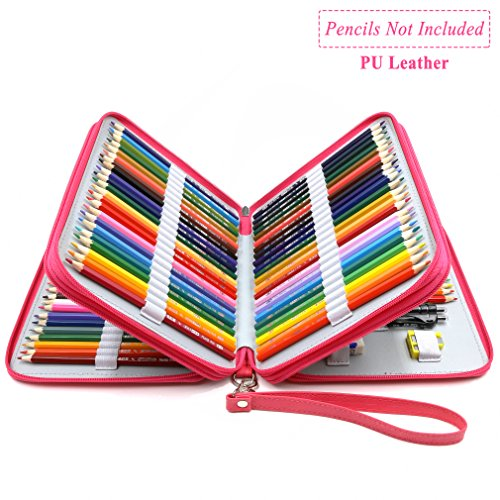 YOUSHARES 120 Slots Pencil Case - PU Leather Handy Large Multi-layer Zipper Pen Bag with Handle Strap for Prismacolor Watercolor Pencils, Crayola Colored Pencils, Marco Pens and Cosmetic Brush (Pink)