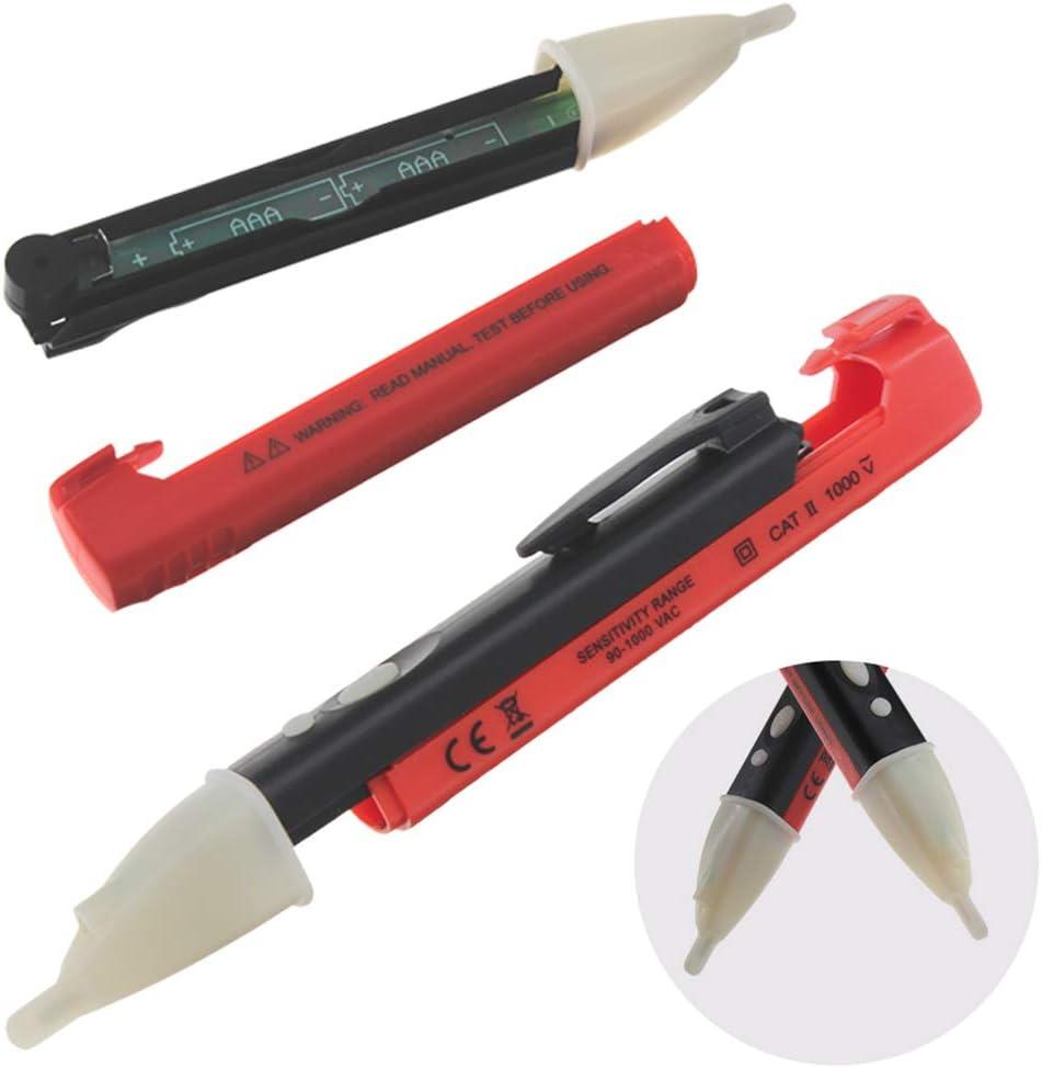 Busirde Elektro-Steckdose Wand Wechselstrom-Steckdose Spannungsalarm-Detektor-Sensor LED-Tester Anzeigelampe Voltage Alarm Pen red 152 15mm 23