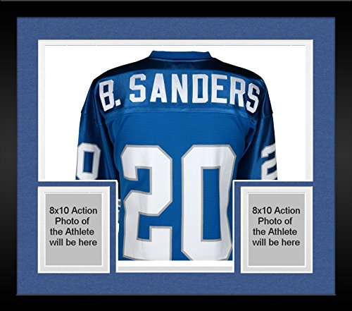 Framed Barry Sanders Detroit Lions Autographed Blue Mitchell & Ness Authentic Jersey - Fanatics Authentic Certified ()