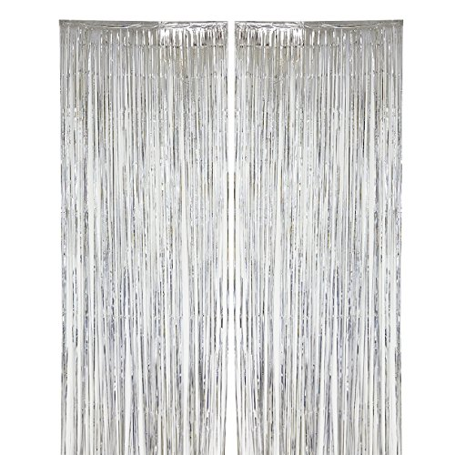 2-Pack Silver Fringe Curtains - Wedding Photo Backdrop, Metallic Tinsel Foil Fringe Curtain, Party Decoration Photo Booth Background - 7.9 x 3 Feet (Metallic Garland Silver)