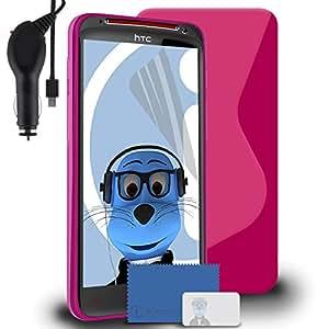 iTALKonline HTC Sensation XL TPU S Line Wave caja del gel híbrida Piel de protección Jelly cobertura con 3capas de pantalla LCD Protector y indicador LED 1000mAh arrotolata Cargador de Coche y protección contra sobrecarga