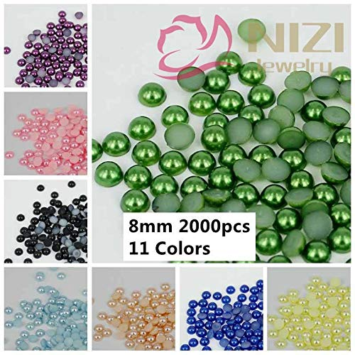 8mm Round Beads 25 (Kamas Half Round Beads 2000pcs 8mm #25-#35 11 Colors Glue On Resin Pearls 3D Rhinestones DIY Nail Tips Kamas (Color: 25 light blue))