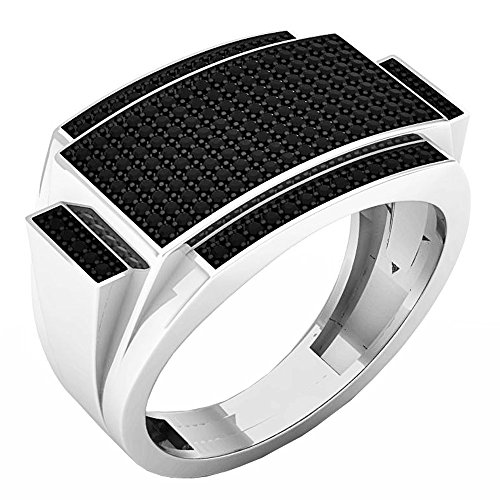 0.45 Carat (ctw) Sterling Silver Round Black Diamond Men's Hip Hop Pinky Ring 1/2 CT (Size 13) by DazzlingRock Collection