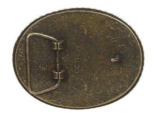 Western Plain Oval Hammered Vintage Belt Buckle, Antic Brass