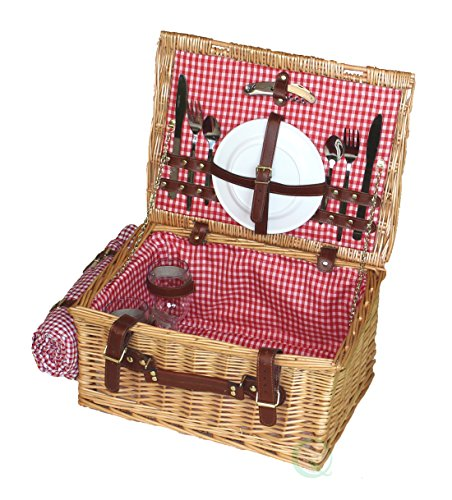 Vintiquewise(TM) Picnic Suitcase Basket Servings for 2 with Accessories