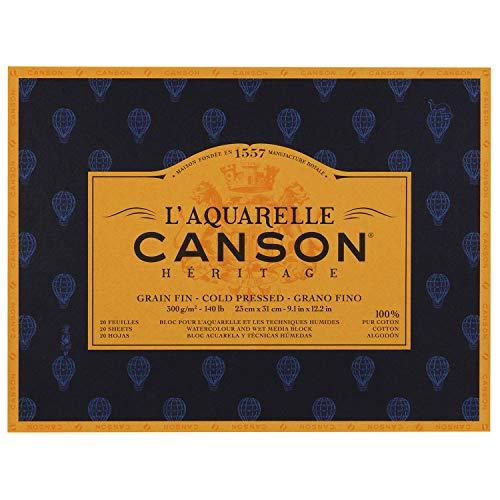 [해외]マルマン 수채화 종이 캔 슨 헤리티지 블록 특성 23x31mm 20 매입 100720002 / Marman Watercolor Paper Canson Heritage Block Fine 23x31mm 20pcs 100720002