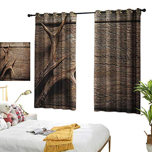 Warm Family Fabric Shower Curtain Liner Antlers,Deer Antlers on Wood Table Rustic Texture Surface Hunting Season Decorating Image,Tan PRU 84