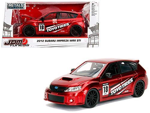 StarSun Depot 2012 Subaru Impreza WRX STI Red JDM Tuners 1/24 Diecast Model Car Jada