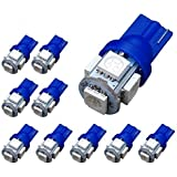 YITAMOTOR 10 PCS T10 Wedge 5-SMD 5050 Ultra Blue LED Light bulbs W5W 2825 158 192 168 194
