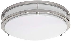 LB72123 LED Flush Mount Ceiling Light, 16-Inch, Antique Brushed Nickel, 23W (180W equivalent) 1610 Lumens 4000K Cool White, ETL & DLC Listed, ENERGY STAR, Dimmable