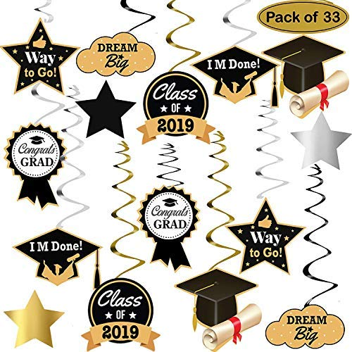 Graduation Hanging Decorations Swirls Kit - Big Pack of 33 | Beautiful Hanging Ceiling and Door Decoration for Graduation Party Supplies 2019 | Graduation Decorations for High School Prom Grad Party]()