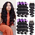 Beaudiva Hair 8A Brazilian Virgin Hair 3 Bundles with Closure Brazilian Hair Weave 100% Unprocessed Brazilian Human Hair With Free Part Lace Closure