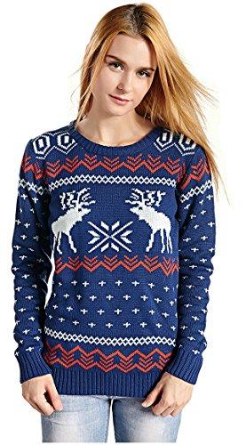 Women's Patterns of Reindeer Snowman Tree Snowflakes Christmas Sweater Cardigan (S, ()