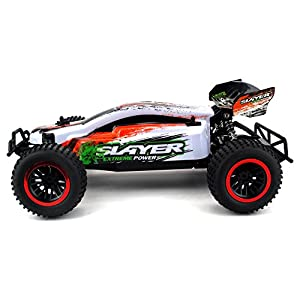 Baja Slayer Remote Control RC Buggy Car 2.4 GHz PRO System 1:12 Scale Size RTR w/ Working Suspension, Spring Shock Absorbers (Colors May Vary)
