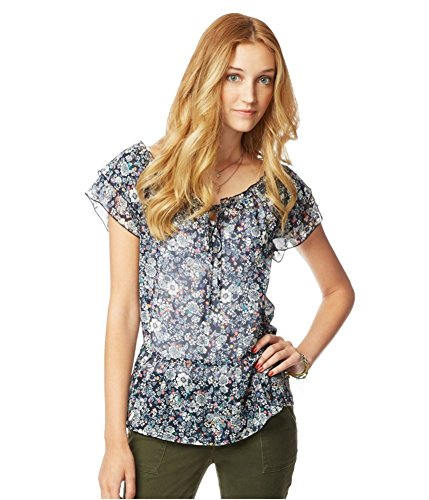 Aeropostale Womens Floral Chiffon Baby Doll Blouse, Blue, ()